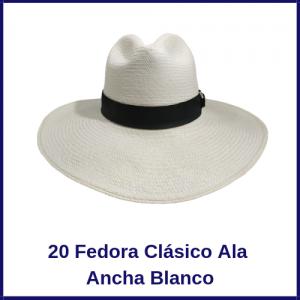 Sombrero Panama Fedora Clasico Ala Ancha Blanco