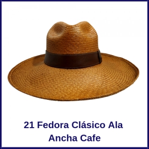 Sombrero Panama Fedora Clasico  Ala Ancha Cafe