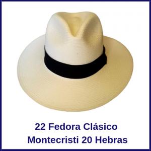 Sombrero Panama Fedora Clasico  Montecristi 20H