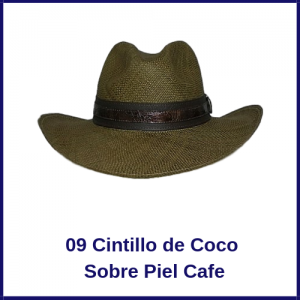 Sombrero Panama Vaquero 09 Cintillo de Coco Sobre Piel Cafe