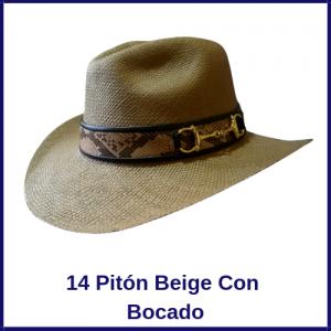 Sombrero Panama Vaquero 14 Pitón Beige Con Bocado