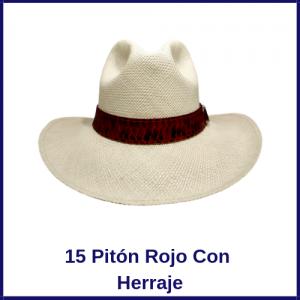 Sombrero Panama Vaquero 15 Pitón Rojo Con Herraje