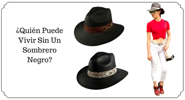 sombrero panama negro, sombrero negro, sombrero negro hombre, sombrero negro mujer, sombrero vaquero negro